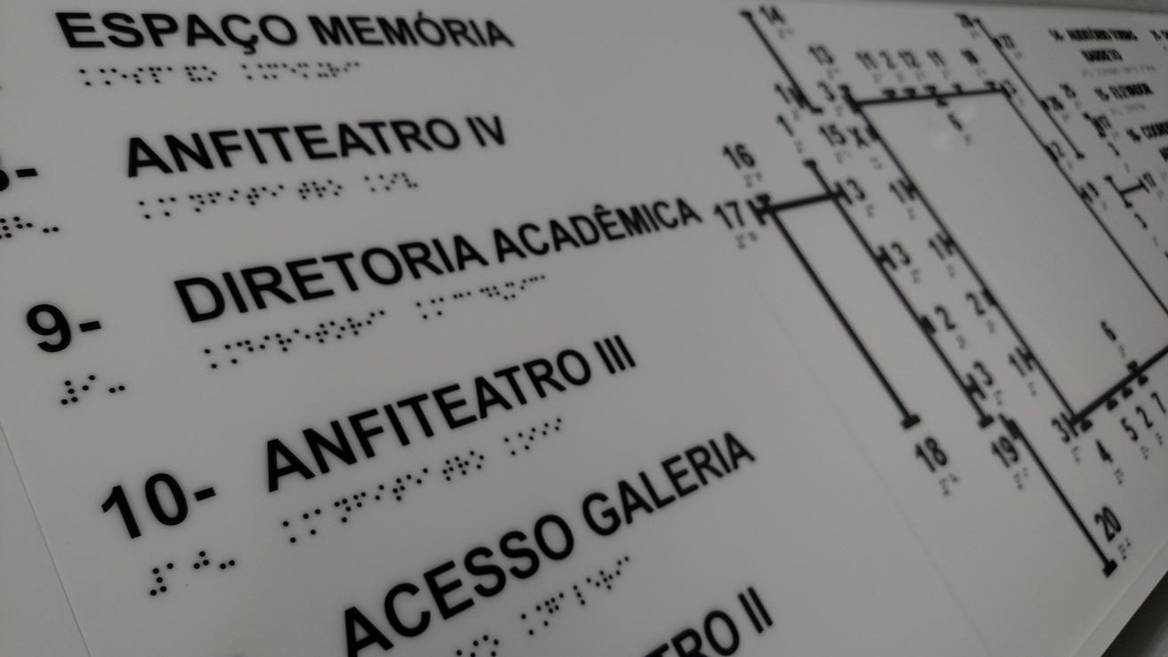 Mapa Tátil Braille/Relevo Acrílico